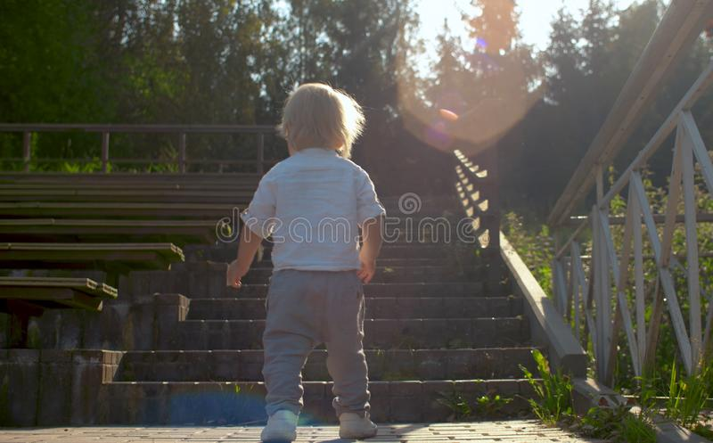 Small boy climbing up stairs royalty free stock image