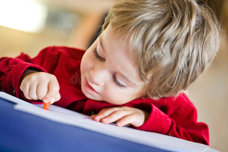 Download Small Boy Is Drawing Royalty Free Stock Photos - Image: 14738928