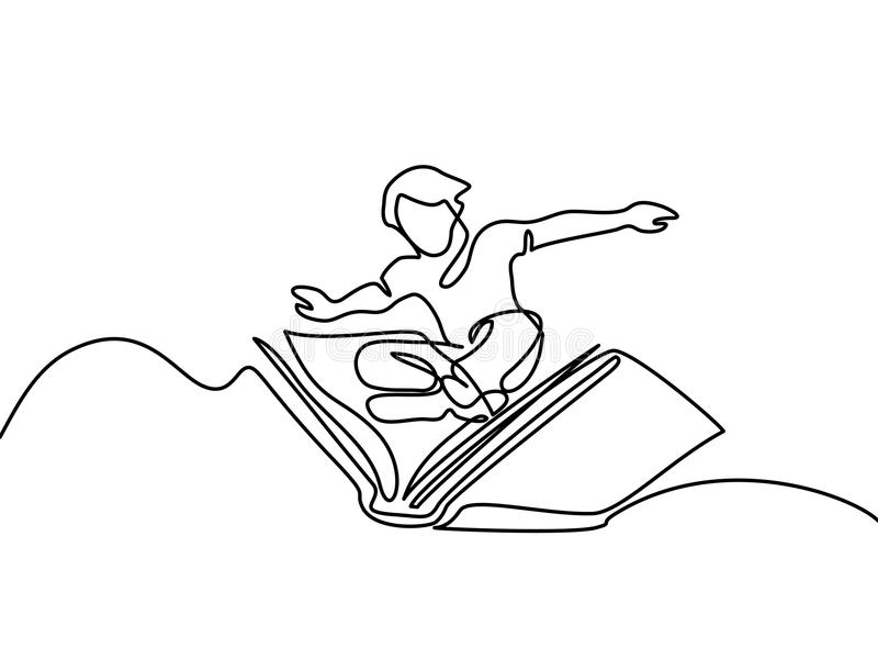 Small boy flying with book in the sky stock illustration
