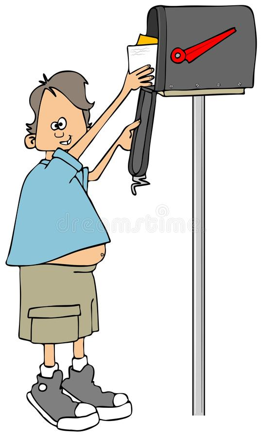 Small boy getting the mail stock illustration