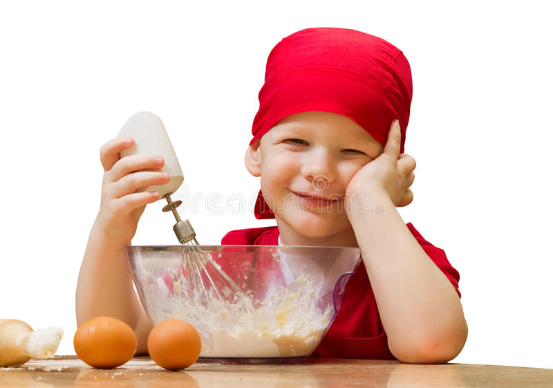 Download Small Boy In Kitchen With Baking Pie, Isolated Stock Image - Image: 18028051