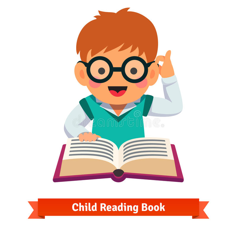 Small boy playing in glasses reading book royalty free illustration