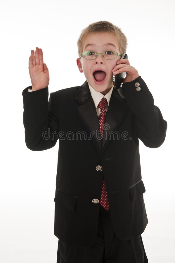 Download A Small Boy Pretending To Be A Businessman. Stock Images - Image: 15021864