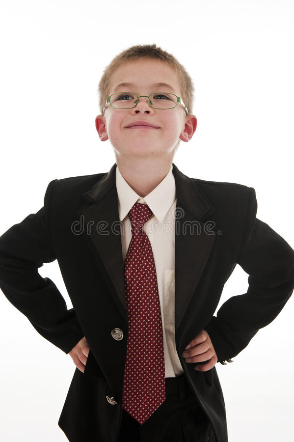 A Small Boy Pretending To Be A Businessman. Stock Photography