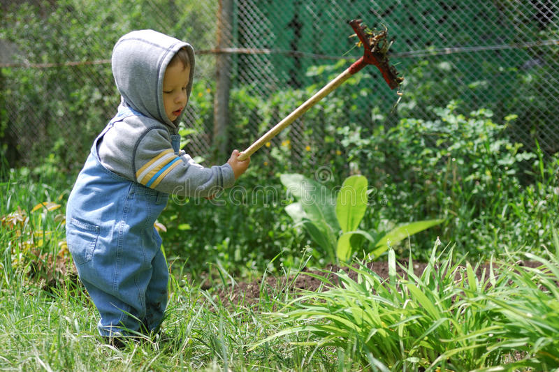 Small boy with rake royalty free stock photography