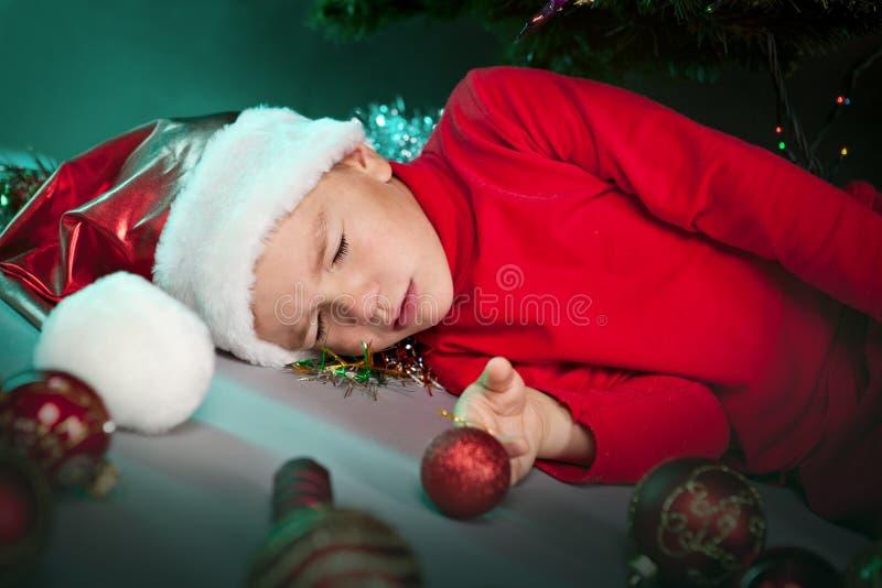 Download Small Boy In Santa Hat Sleep Stock Image - Image: 26876857