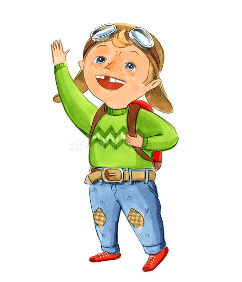 A small boy without a tooth in a pilot`s hat, a green sweater stock illustration