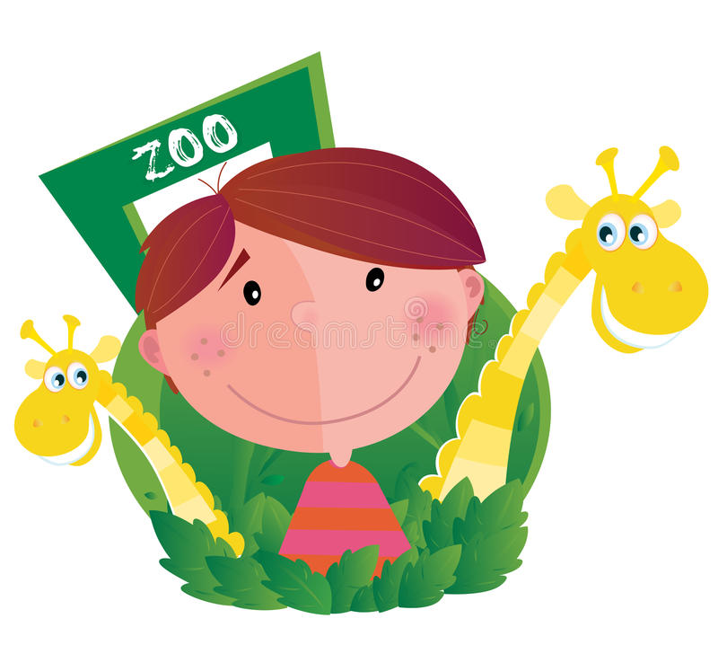 Small boy with two giraffes in zoo stock illustration