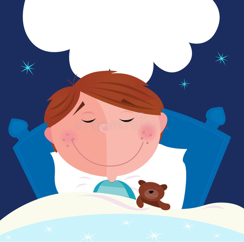 Free Small Boy With His Teddy Bear Sleeping In Bed Stock Images - 14365064