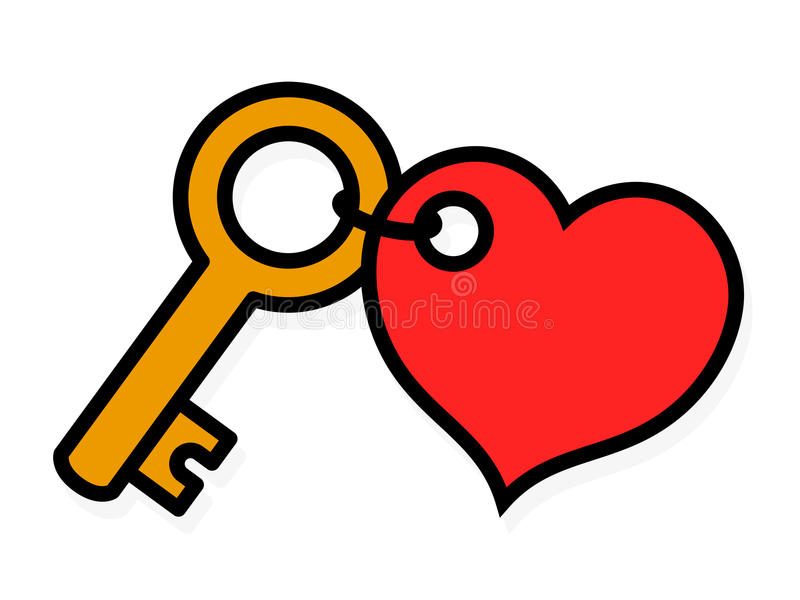 Download Small Brass Key With A Red Heart-shaped Tag Stock Vector - Image: 70824366