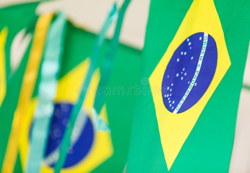 Small Brazil flags used to decorate streets for FIFA World Cup 2. 014 stock photo