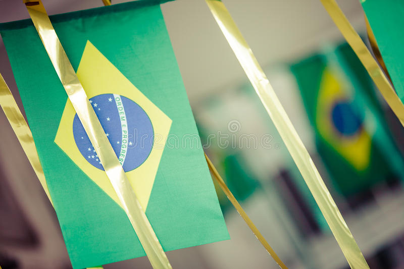 Small Brazil flags used to decorate streets for FIFA World Cup 2. 014. Instagram or vintage style royalty free stock photography