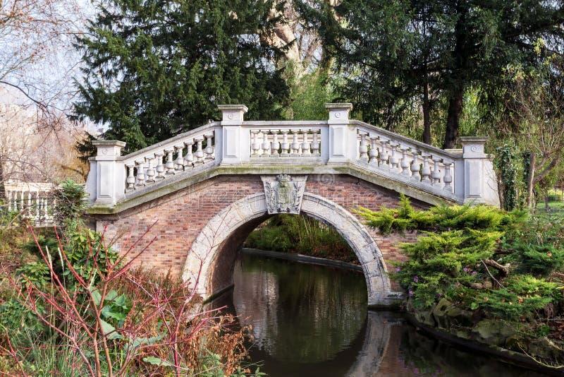 The small bridge of the Parc Monceau in Paris stock image