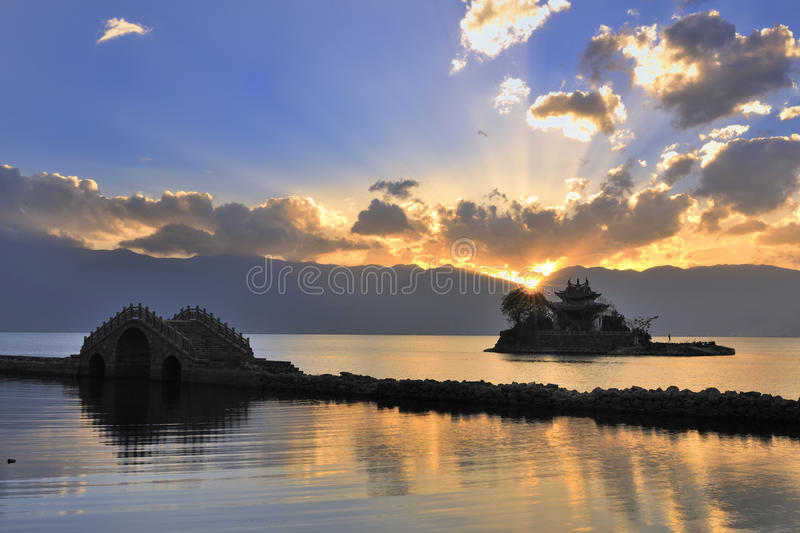 Download Small Bridge---the Temple---lake---sunset Stock Photo - Image: 14353842