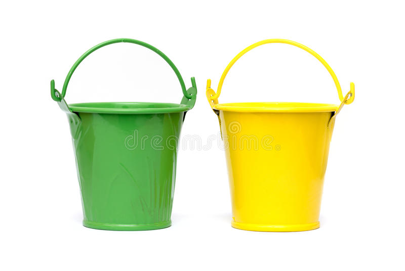 Small buckets. Isolated on white background royalty free stock image