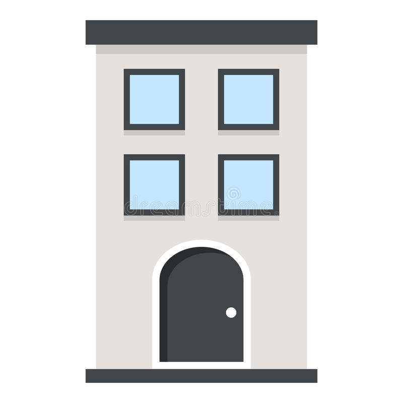 Small Building Flat Icon Isolated on White vector illustration