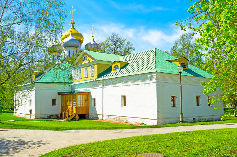 The small building. On the territory of Novodevichy Convent called the Treasury Chambers, Moscow, Russia stock photography