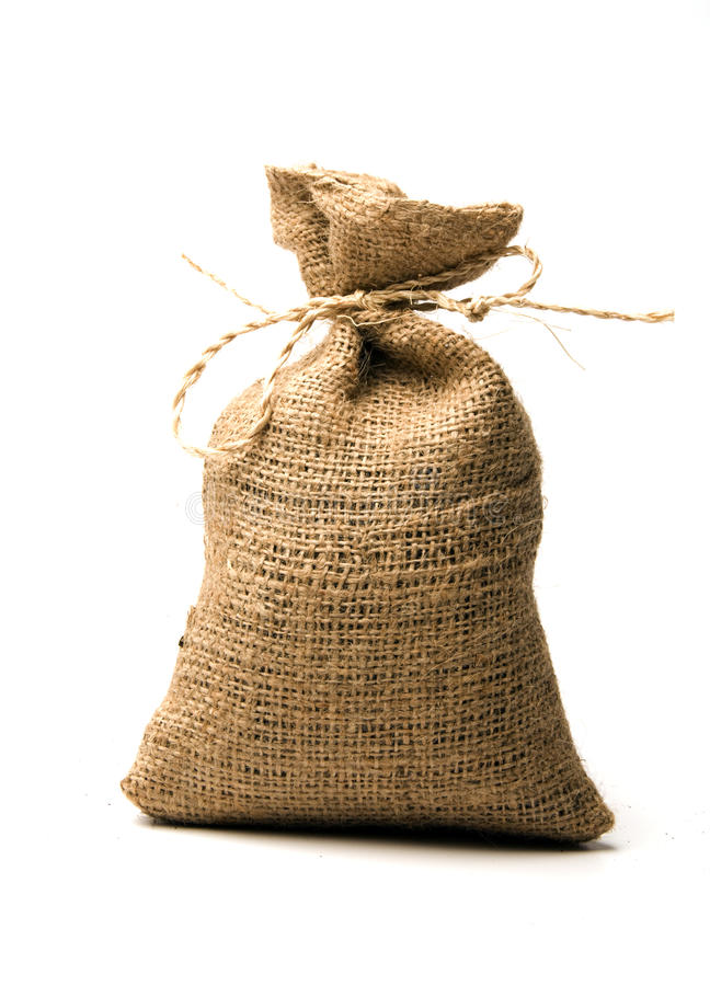 Small burlap sack stock images