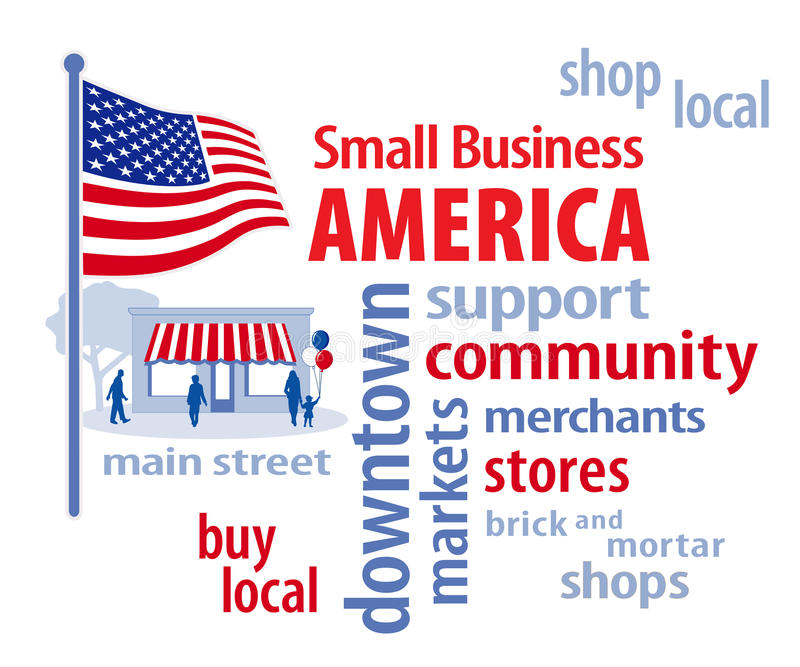 Small Business America, USA Flag. Small Business America celebrates local main street shops, stores and markets. Word cloud illustration, stars and stripes vector illustration