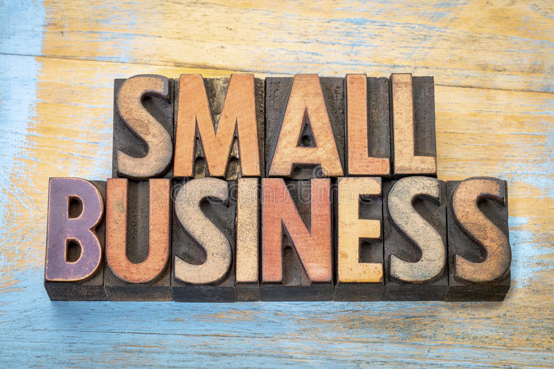 Small business banner in wood type royalty free stock photography