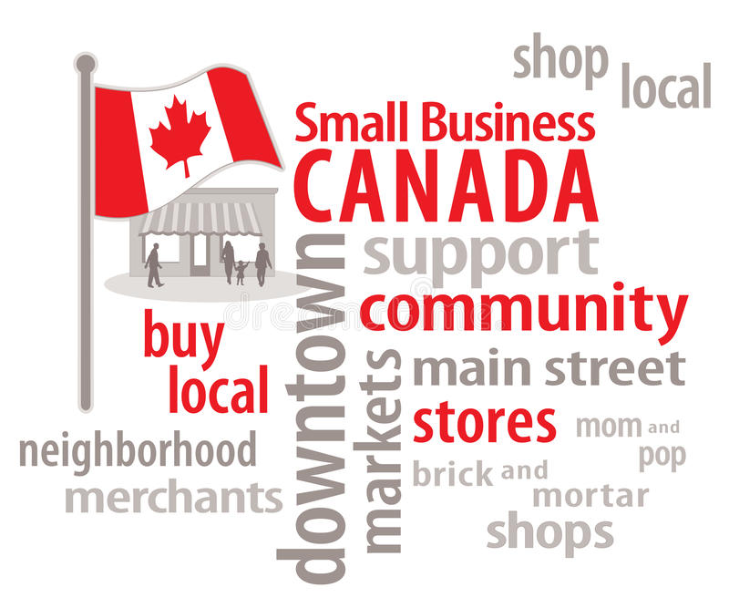 Small Business Canada Word Cloud. Canadian flag, main street graphic illustration. To encourage shopping at local community neighborhood stores. EPS8 stock illustration