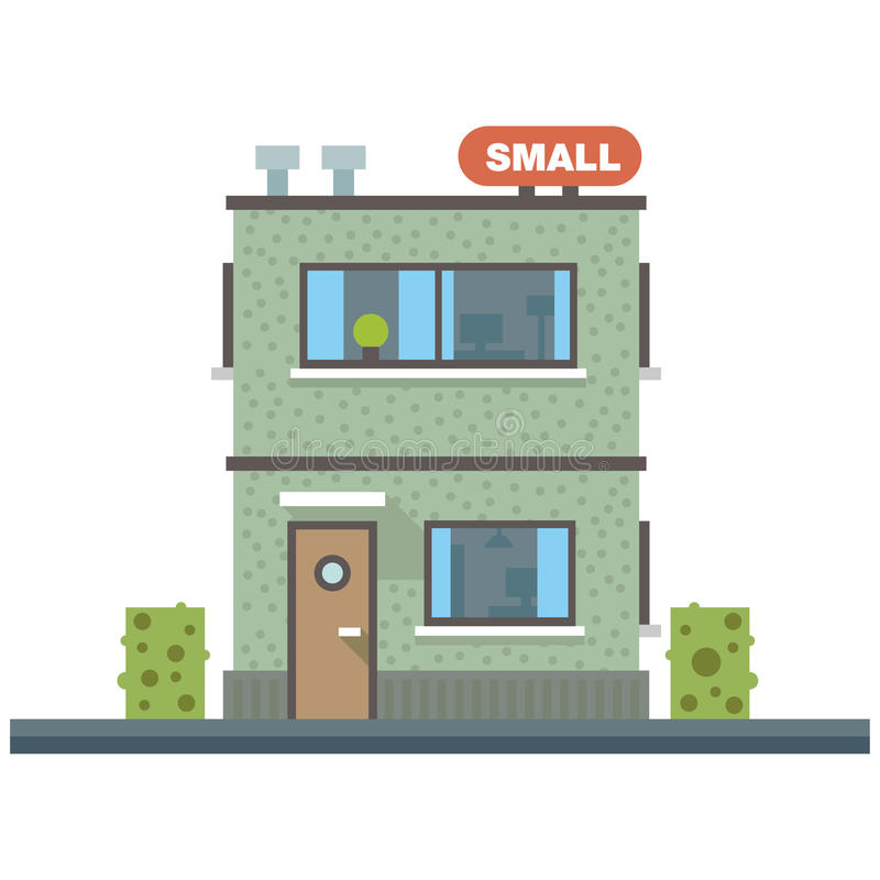 Small business center, offices. Set of elements for the construction of urban landscapes. Vector flat illustration