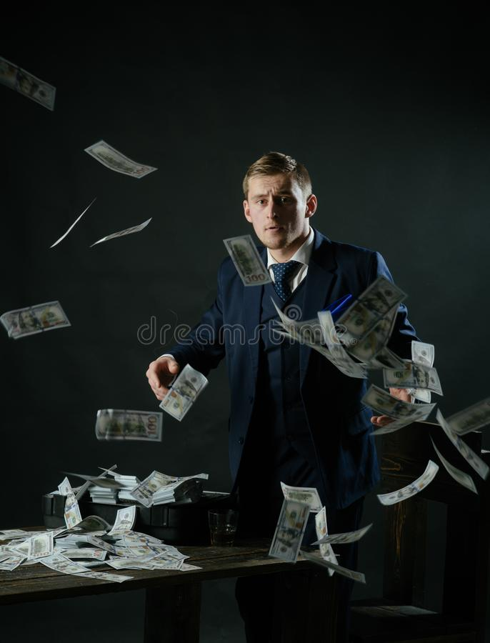 Small business concept. Businessman work in accountant office. Economy and finance. Man bookkeeper. Man in suit. Mafia stock image