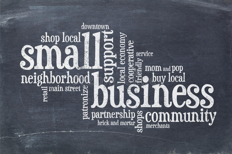 Small business concept - word cloud on blackboard. Small business concept - word cloud on a slate blackboard stock images