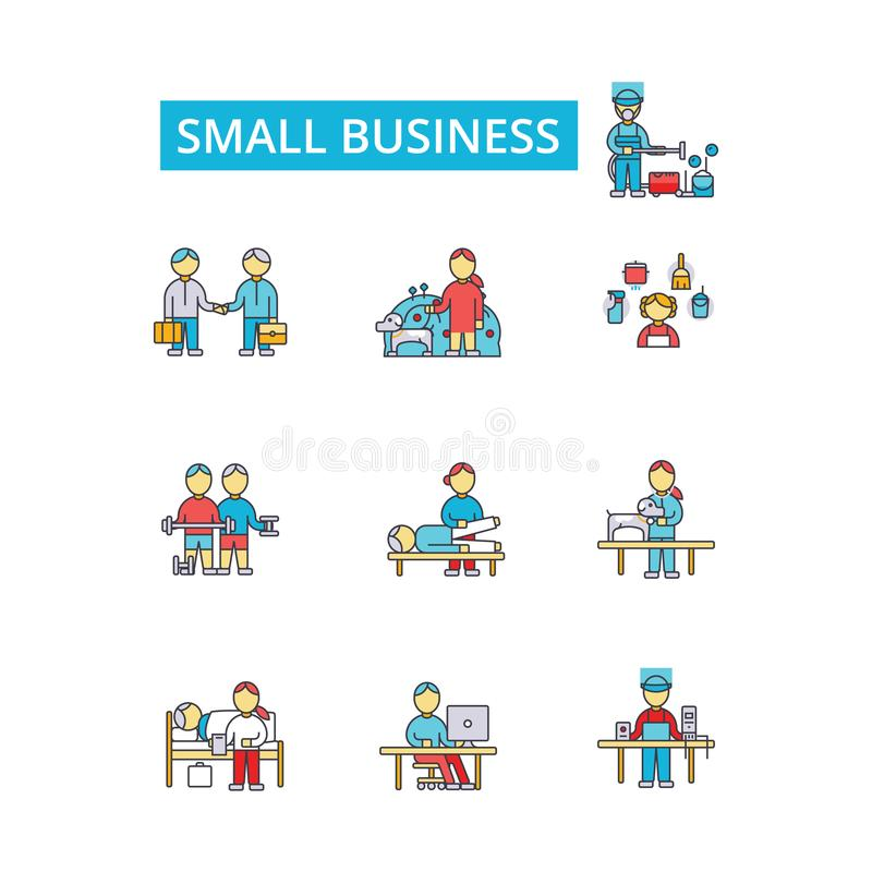 Small business illustration, thin line icons, linear flat signs, vector symbol royalty free illustration