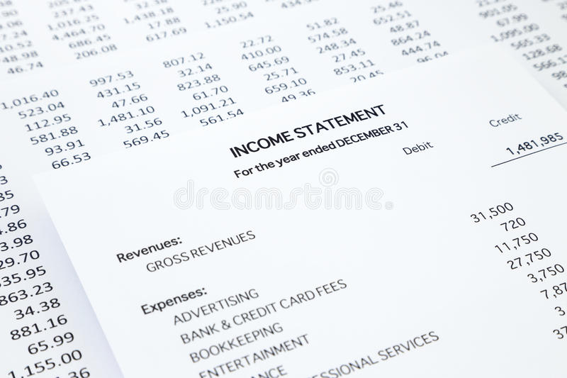 Download Small Business Income Statement Stock Image   Image Of Paper,  Information: 48726765