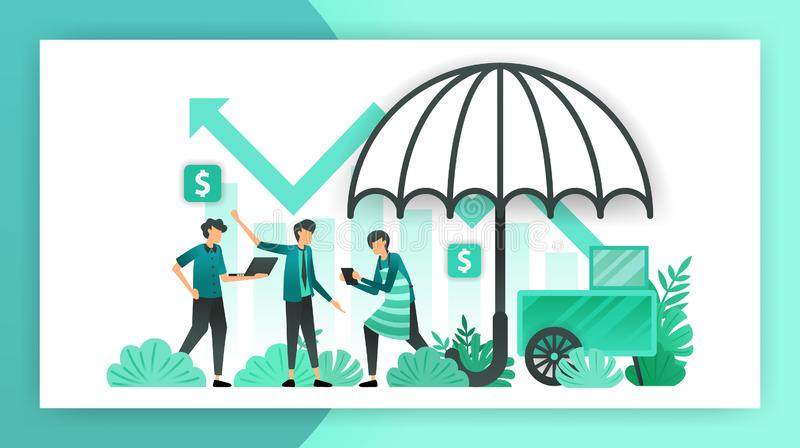 Small business insurance. insurance policies that help and guarantee SME businesses, owners and investors from workplace accidents royalty free illustration