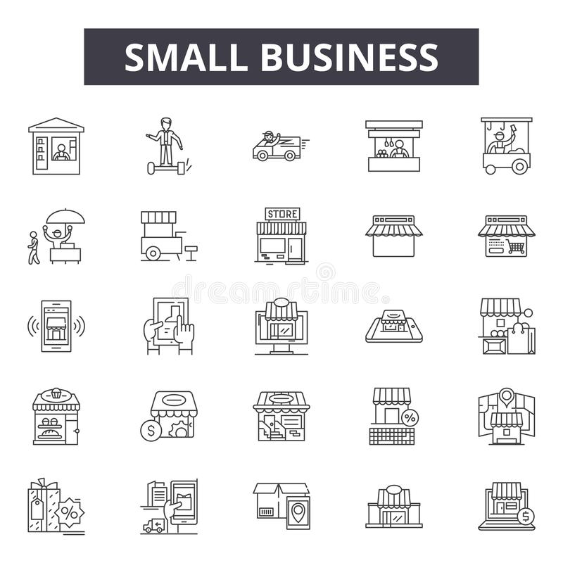 Small business line icons, signs, vector set, outline illustration concept royalty free illustration
