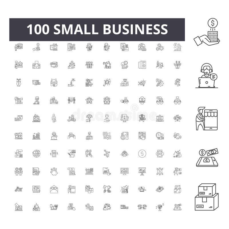 Small business line icons, signs, vector set, outline illustration concept vector illustration