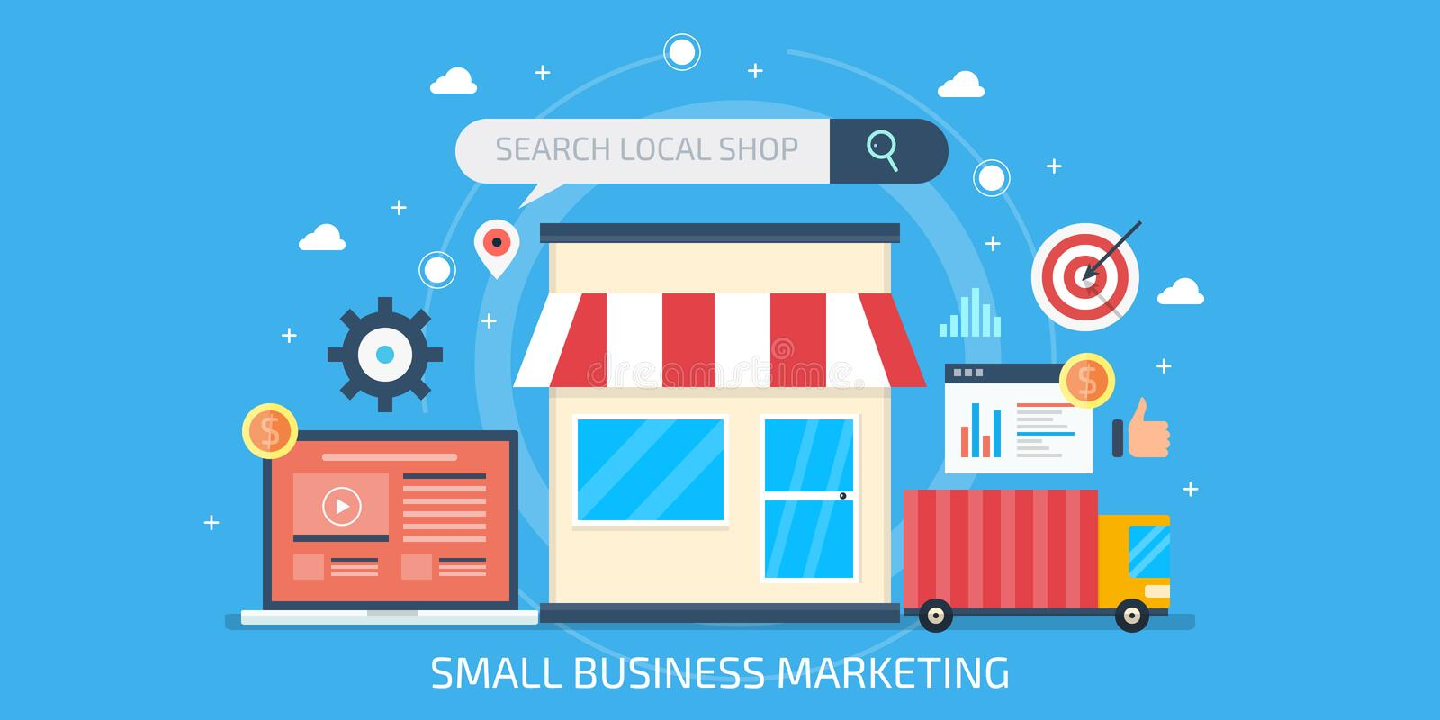 Small business marketing, local business optimization, seo marketing, internet advertisement for small shops. Flat design banner. royalty free stock image