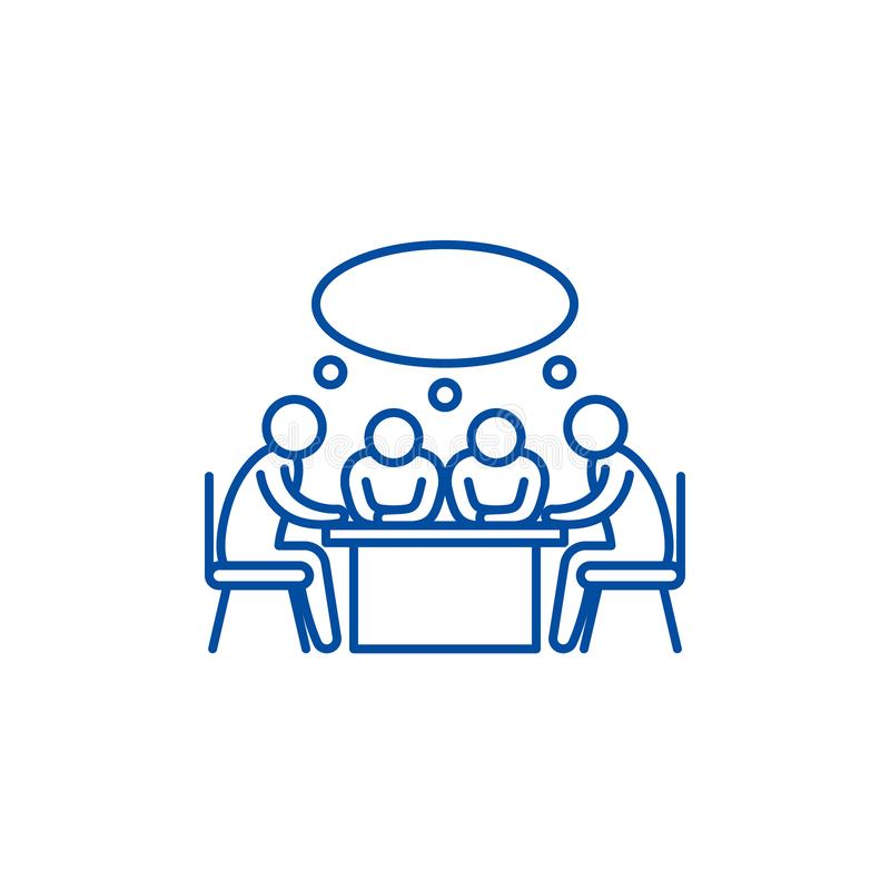 Small business meeting line icon concept. Small business meeting flat  vector symbol, sign, outline illustration. stock illustration