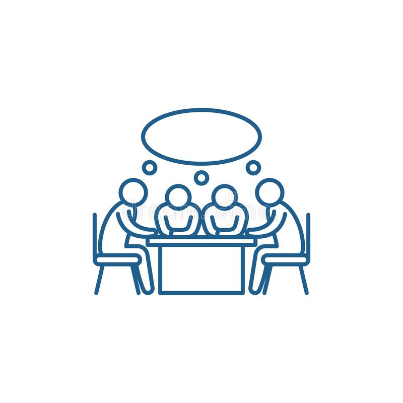 Small business meeting line icon concept. Small business meeting flat  vector symbol, sign, outline illustration. royalty free illustration
