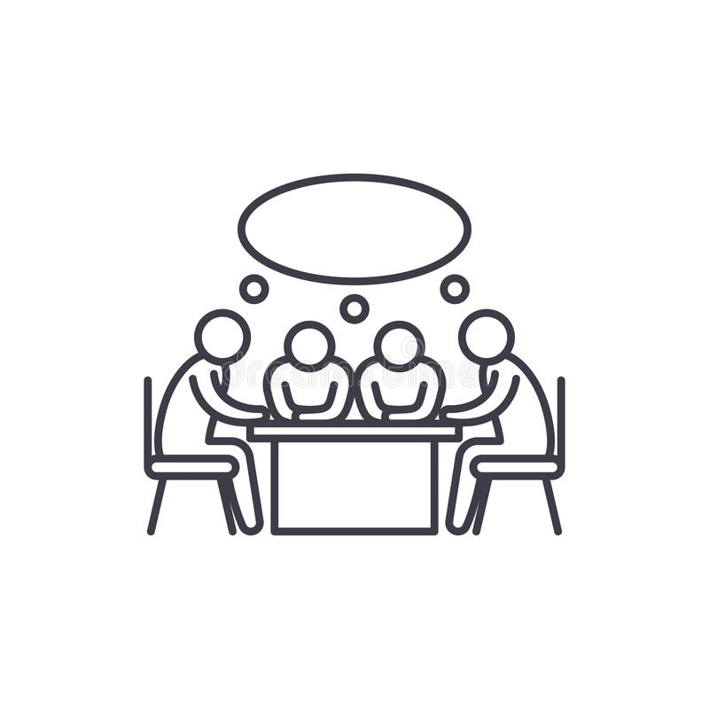 Small business meeting line icon concept. Small business meeting vector linear illustration, symbol, sign. Small business meeting line icon concept. Small royalty free illustration