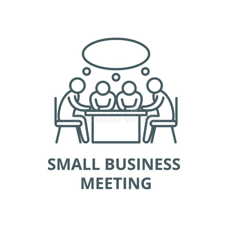 Small business meeting vector line icon, linear concept, outline sign, symbol royalty free illustration