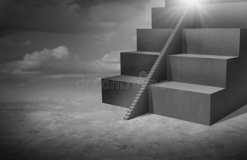 Small Business Opportunity. And solutions as big stairs with tiny staircase as a success pathway for smaller companies or individuals with 3D illustration stock illustration