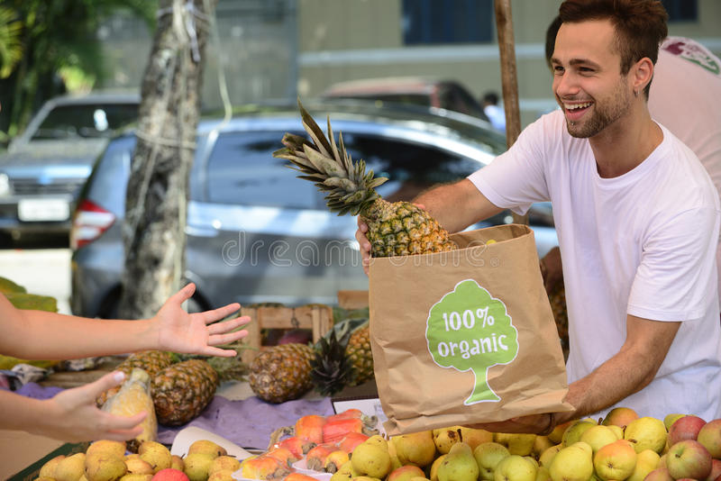 Small business owner selling organic fruits. Small business owner at an open street market, selling organic fruits and vegetables to a women carrying a shopping royalty free stock images