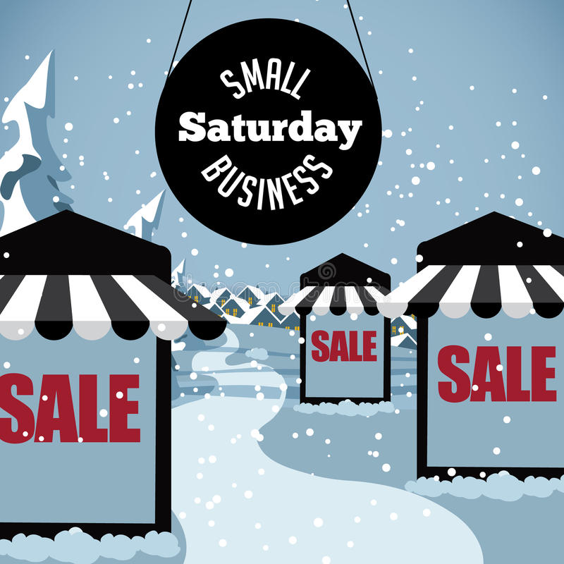 Small Business Saturday snowy scene royalty free illustration