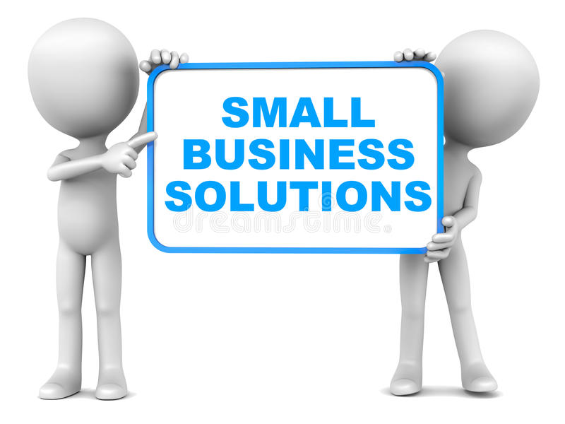 Small business solutions. Text in blue, support for small enterprises and 1-10 employee business vector illustration