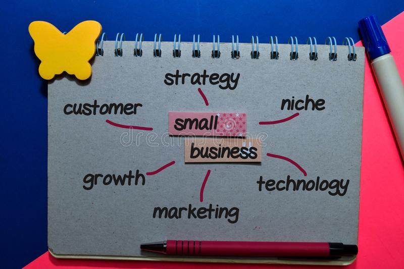 Small Business on sticky note with keywords isolated on office desk. Chart or mechanism concept stock photos
