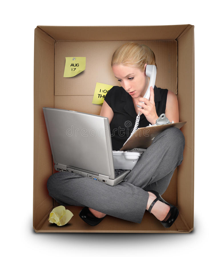 Free Small Business Woman In Office Box Stock Photography - 25065852