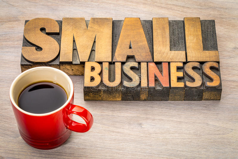 Small business word abstract in wood type royalty free stock images