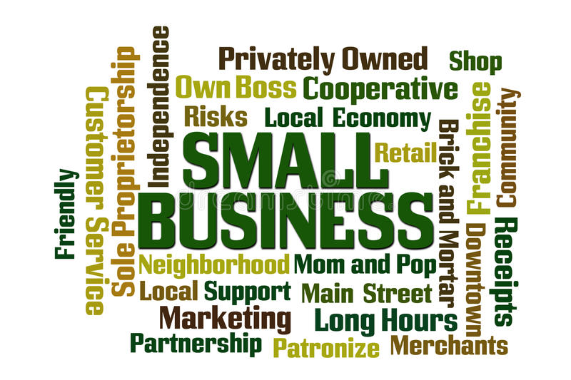 Small Business. Word Cloud on white background vector illustration
