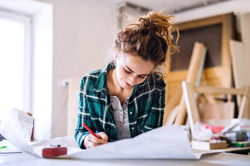 Small business of a young woman. stock image