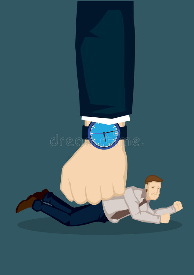 Small Businessman Defeated by Bigger Force Vector Illustration royalty free illustration