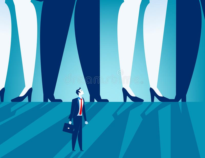Small businessman standing under large business people. Concept. Business vector stock illustration