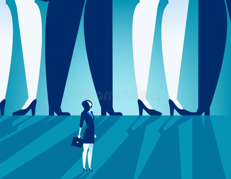 Small businesswoman standing under large business people. Concept business vector. vector illustration